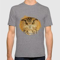 OWL RIGHT ON THE NIGHT Mens Fitted Tee Tri-Grey SMALL