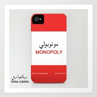 iphone 5 case Art Prints featuring Monopoly iPhone case by ranajubara