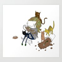 Cat Lady Art Print