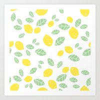 Lemons And Leaves Art Print