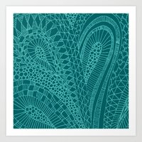 Sketchy Geometric Waves Art Print
