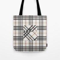 Plaid Pocket - White / B… Tote Bag