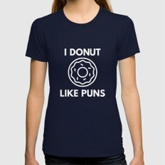I Donut Like Puns Womens Fitted Tee Navy SMALL
