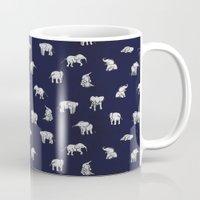 Indian Baby Elephants in Navy Mug
