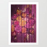 Roses on Wood Pink Art Print