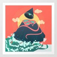 Snake On Crystal Mountai… Art Print