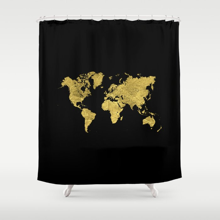 Gold Black World Map Shower Curtain By Edit Voros Society6