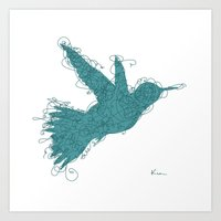 Bird Fly No. 1 (Aqua) Art Print