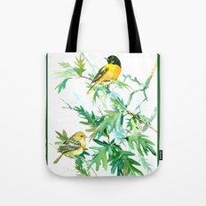 Baltimore Oriole Birds and White Oak Tote Bag
