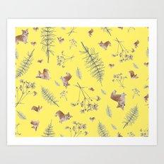 yellow corgi holidays and twigs Art Print