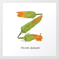 Z Is For Zucchini Blosso… Art Print