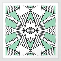 Triangle Tribal Mint Art Print