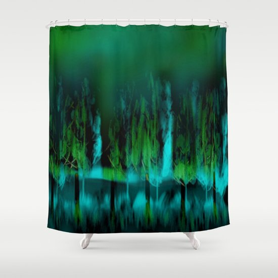 Dark forest green and blue shower curtain by jen warmuth for Forest green curtains drapes