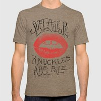 Soft Lips Are Open, Knuckles Are Pale  Mens Fitted Tee Tri-Coffee SMALL