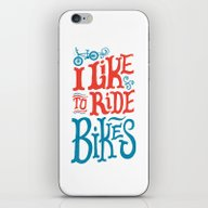 iPhone & iPod Skin featuring I Like To Ride Bikes by Chris Piascik