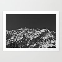 Monochromatic Mountains Art Print