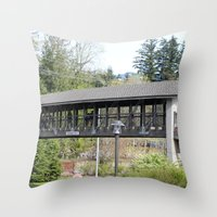Bridge at the Falls Throw Pillow