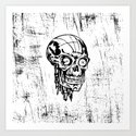 Skull black and white sketch Art Print