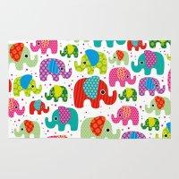 Colorful India Elephant … Rug