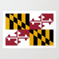 State flag of Flag of Maryland - Authentic version Art Print