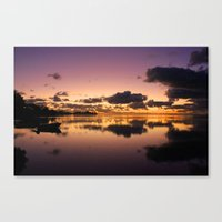 Sunset and water reflection on sea Canvas Print