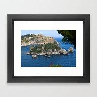 Framed Art Print featuring Isola Bella Bay Of Taorm… by CAPTAINSILVA