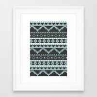 Aztec Pattern 2 Gray & Teal Framed Art Print