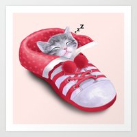 Cat In The Shoe Art Print