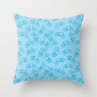 Blue Bicycle Pattern Throw Pillow