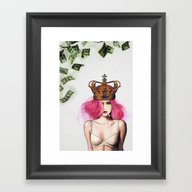Framed Art Print featuring Queen Bitch by Jenny Liz Rome