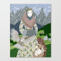 Lady With An Owl And A D… Canvas Print