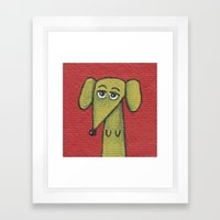 Green Dachshund  Framed Art Print