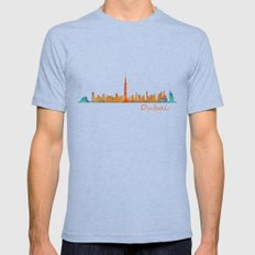 Dubai, emirates, City Cityscape Skyline watercolor art v1 Mens Fitted Tee Tri-Blue SMALL