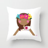 Flower crown girl Throw Pillow