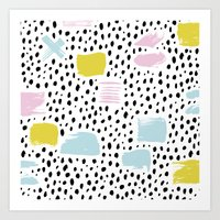 Pastel spots and dots Art Print