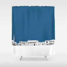 Whitewater Wisconsin Cityscape Illustration Cartoon Shower Curtain