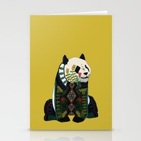 Panda Ochre Stationery Cards