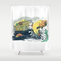Salmon Jumping Shower Curtain
