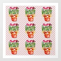Polka Dots and Pots of Dried Roses Art Print