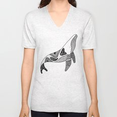 Patchwork Whale Unisex V-Neck
