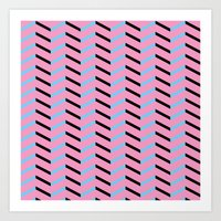 Blue And Black Chevron O… Art Print