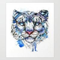 Icy Snow Leopard Art Print