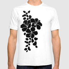 Hibiscus Animal Black Ivory White Mens Fitted Tee SMALL