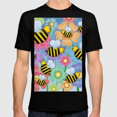 Busy Buzzers. Mens Fitted Tee Black SMALL