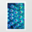 peacock feathers - for iphone - Art Print