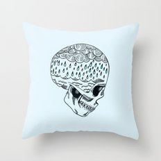 Skull Rain Throw Pillow