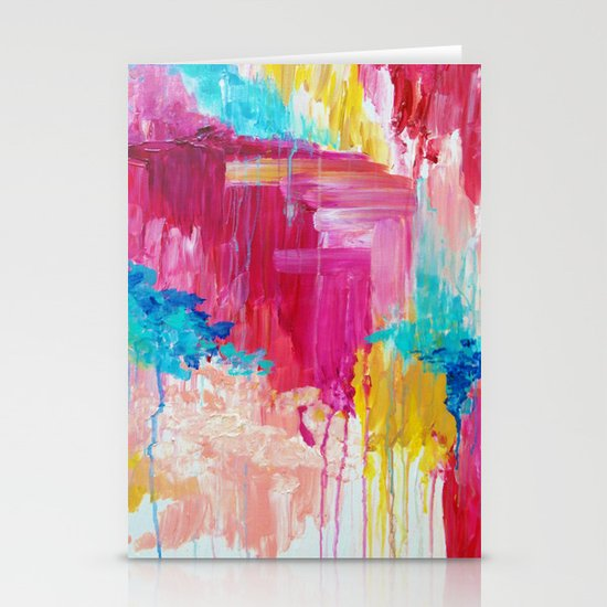 ELATED - Beautiful Bright Colorful Modern Abstract Painting Wild Rainbow Pastel Pink Color Stationery Card
