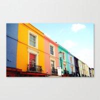 Canvas Print featuring Colourful Houses of Portobello Market by SmallIslandInTheSun