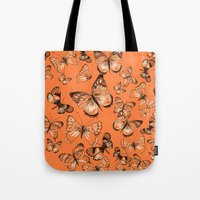 Coral Butterflies Tote Bag