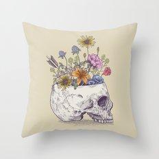Half Skull Flowers Throw Pillow